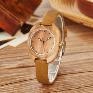 Stunning Women's Bamboo Quartz Analog Watch with Leather Band