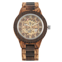 Acclaimed Elegance Men's Wooden Watch, Self-Winding Featuring Roman Numeral Face