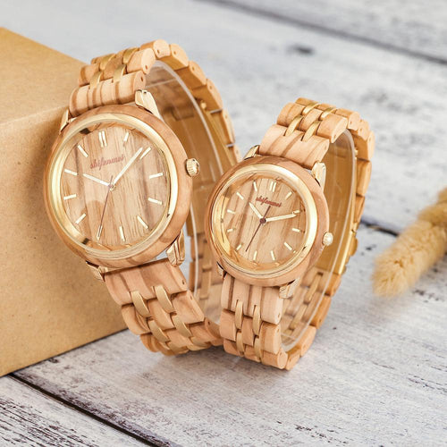 Luxury Fashion Wooden Couples Watch Set