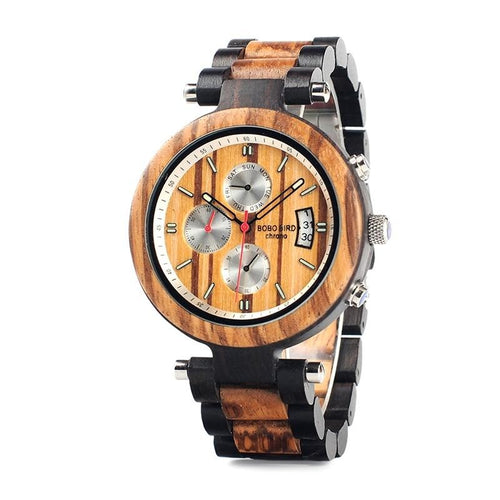 Handmade Multi-function Ebony Wood and Bamboo Watch. Stunning!
