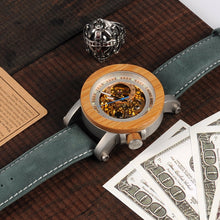 Bamboo Bezel with Translucent Face and Exposed Gears Mechanical Watch