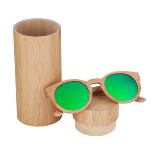 Casual Round Frame Wooden Sunglasses