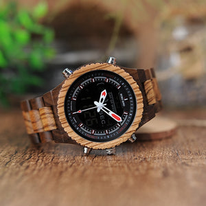 Multinational Digital Wooden Watch with Chronograph and Alarm