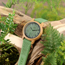 Green Wooden Watch with Silicone Strap