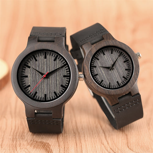 Minimalist Style Couples Sport Casual Wooden Watches with Leather Bands