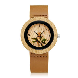 Quartz Wooden Watch with Multiple Aesthetic Faces and Leather Strap