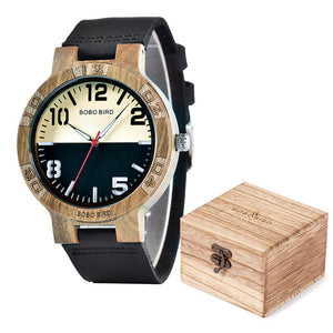 Two Tone Black and White Wooden Watch with Leather Strap