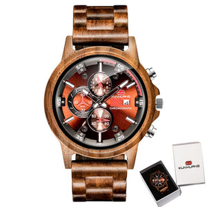 Beautifully styled Men's Chronograph wooden watch