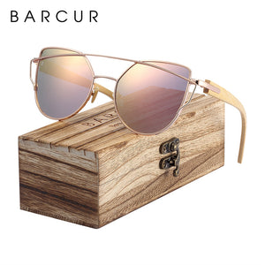 Cool-Cat-Eye Wooden Sunglasses with Polarized Lenses