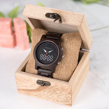 Walnut Quartz Wristwatch with Digital Display
