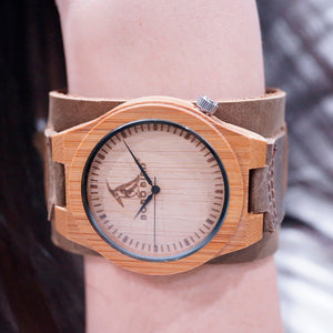 Retro 70's Style Bamboo Quartz Watch with Wide Brown Leather Strap