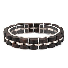 Elegant-Look Man and Woman's Wood and Stainless Steel Fashion Bracelet