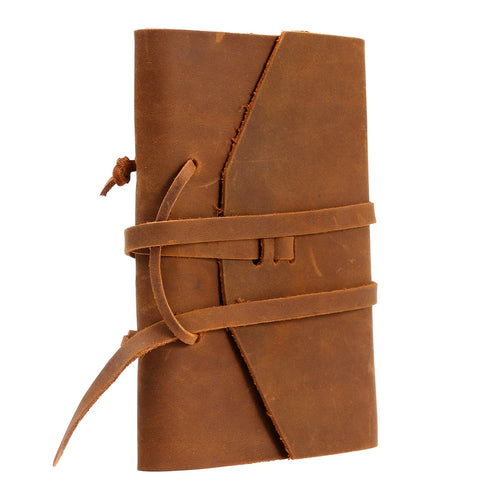 Classic Genuine Leather Notebook with Handmade Binding Rope
