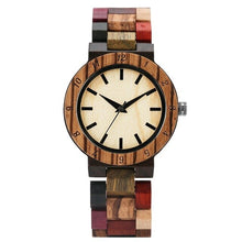 Vogue Irregular Blue Lines Watch Women Fashion Wooden Watch Vintage Mixed Color Wooden Bracelet Watch Women's Wrist Reloj Mujer