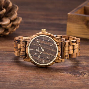 Vintage Walnut Mens Wooden Watch Natural Wood Watch for Men
