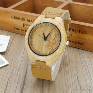 Deer/Buck Bamboo Watch with Leather Band