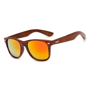Handmade Wooden Sunglasses with Mirror Colored Lenses with Case