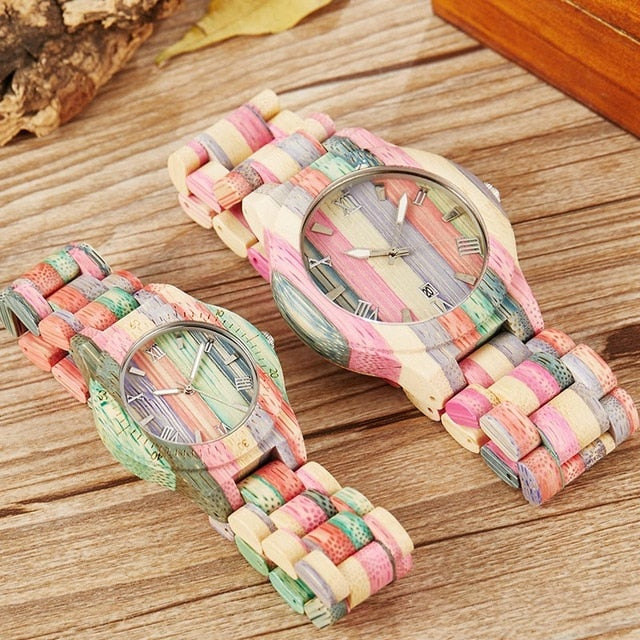 Rainbow Casual All Natural Wood Quartz Couples Watch