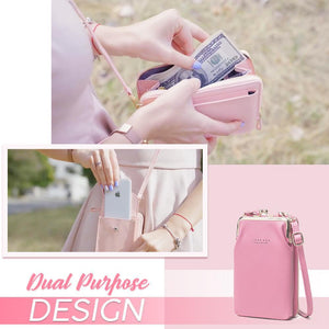 Leather One-Shoulder Phone Wallet Bag