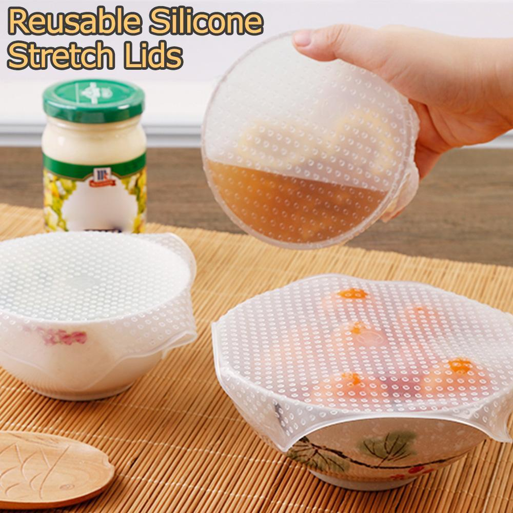 4 PCS Reusable Silicone Stretch Lids