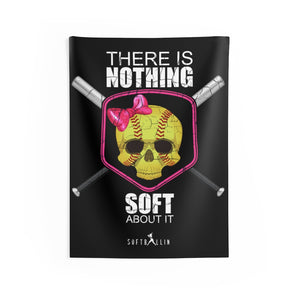There Is Nothing Soft About It Softball Skull and Bats Wall Tapestry