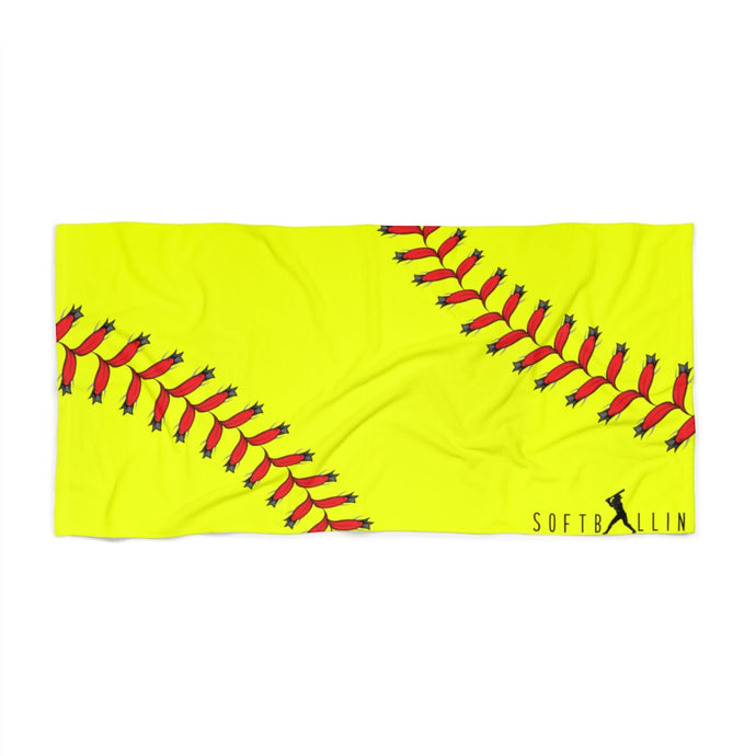 Softballin Softball Seams Logo Yellow Beach Towel