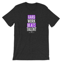 Load image into Gallery viewer, Dark Gray Heather Hard Work Beats Talent Softball Tee Shirt
