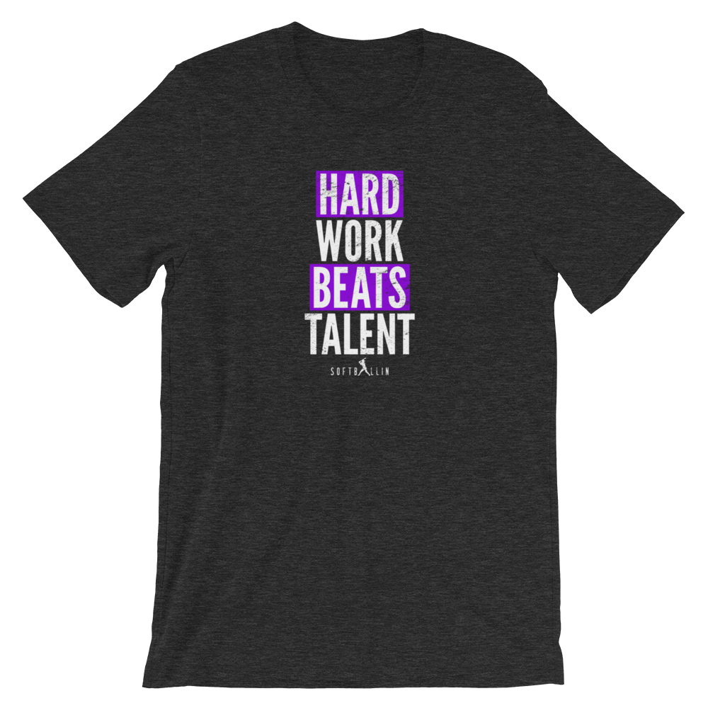 Dark Gray Heather Hard Work Beats Talent Softball Tee Shirt