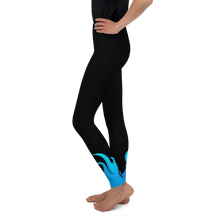 Load image into Gallery viewer, Black and Blue Throwing Heat Softball Pitcher Leggings