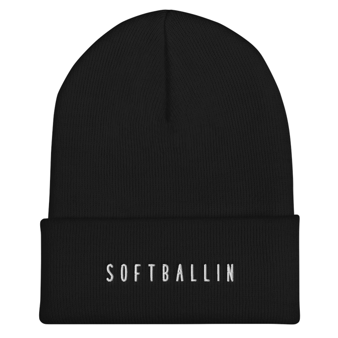 Black Softballin Logo Cuffed Beanie