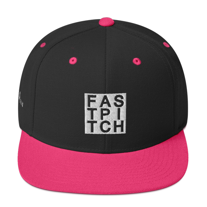 Girls Black Fastpitch Softball Logo Snapback Cap