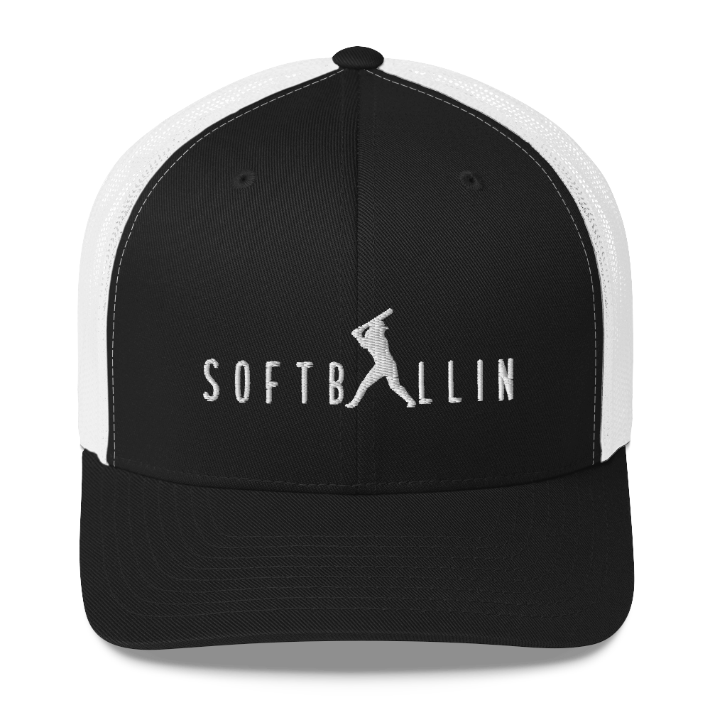 Softballin Embroidered Logo Black and White Trucker Cap