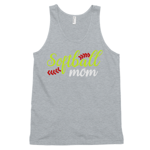 Womens Heather Gray Softball Mom Tank Top