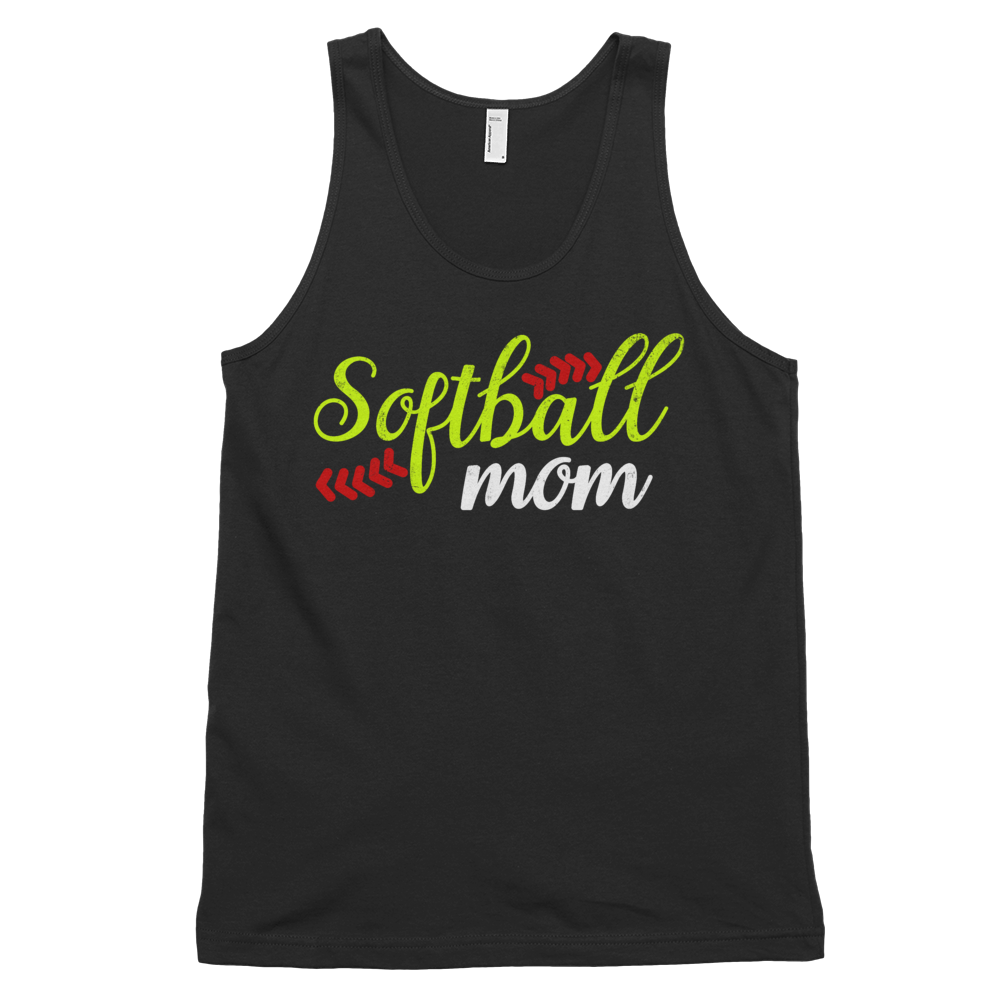 Womens Black Softball Mom Tank Top