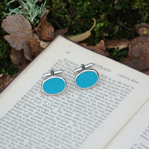 Wool Cufflinks - Blue
