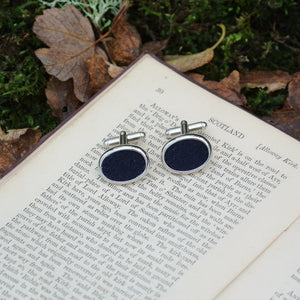 Wool Cufflinks - Navy Blue