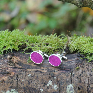 Wool Cufflinks - Dark Pink