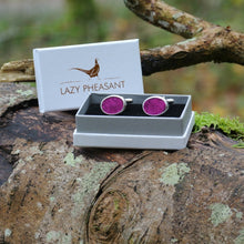 Load image into Gallery viewer, Wool Cufflinks - Dark Pink