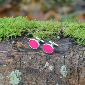Wool Cufflinks - Fuchsia