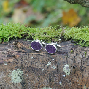 Wool Cufflinks - Purple