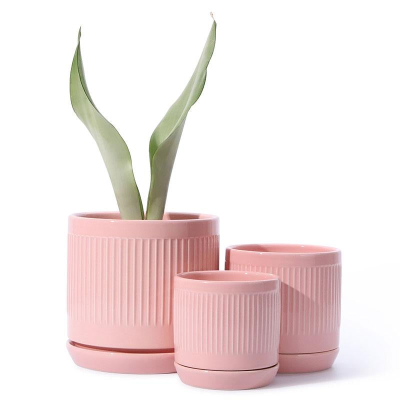 Pink Fluted Cylinder Ceramic Pot
