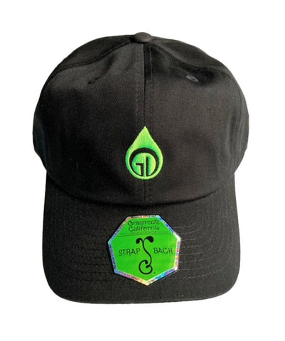 Grassroots California and GDL Logo Embroidered Dad Hat - Black w lime green