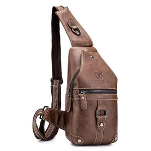BULLCAPTAIN 2020 Genuine Leather Men Messenger Bag Casual Crossbody Bag Fashion Men's Handbag Men Chest Bag Dropship (Brown)