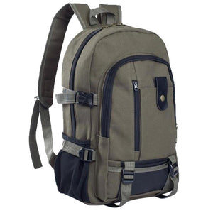Men's Canvas Backpack Rucksack Sport Fashion Simple Double-Shoulder Military Double-Shoulder Schoolbag