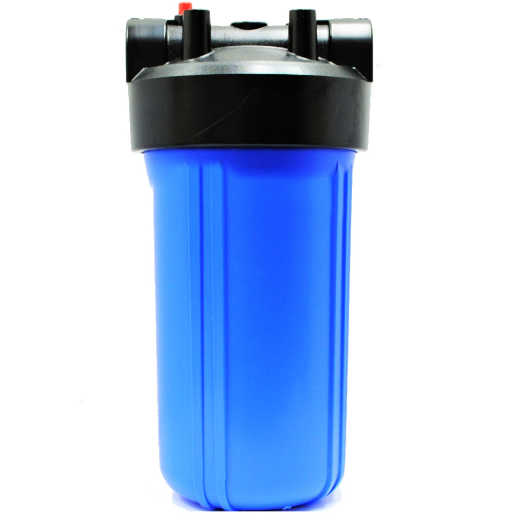 """10"""" Big Blue (bb) Water Filter Housing For Whole House, High Flow, Blue Sump-black Cap, 1"""" Npt, With Pressure Release (single Housing) Compatible To Pentek 150237"""