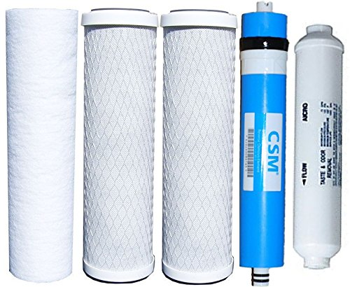 Watts Reverse Osmosis Replacement Filter Set 5 pcs w- CSM 50 GPD Membrane with 1-4