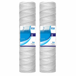 "Compatible 10""x2.5"" EcoPure EPW2S String Wound Whole Home Replacement Water Filter-Universal Fits Most Major Brand Systems (2 Pack), White"