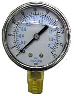 Stainless Steel Pressure Gauge 0-160 PSI Liquid Filled Bottom 1-4