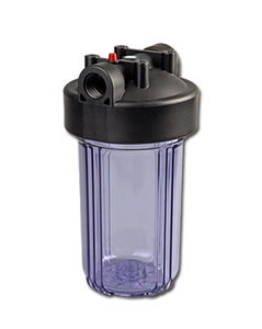 "PureT - C907 Series - 10"" Double O-Ring Big Blue Filter Housing Black Cap / Clear Sump with PR"