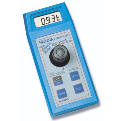 Hanna (HI93745) Free and Total Chlorine, Total Hardness, Iron and pH Photometer with 555 nm LED